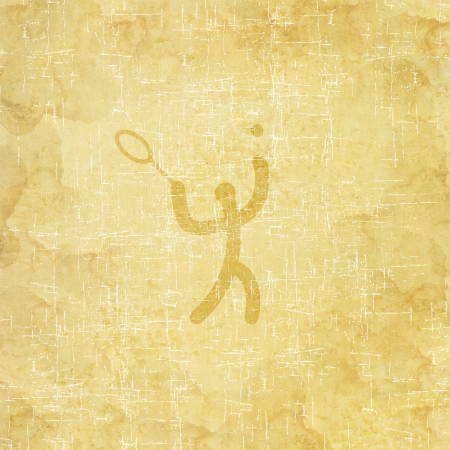Sport tennis icon on old paper background and textured photo