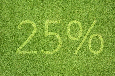 Percent icon on green grass texture and background