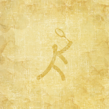 Sport badminton icon on old paper background and textured photo
