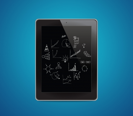 Drawing business plan on tablet computer Stock Photo - 16292095