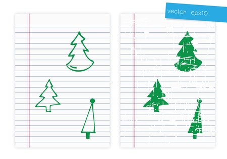 Drawing christmas tree on paper Stock Vector - 16481309
