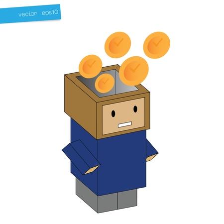 Clock in head box, concept business Stock Vector - 16566730