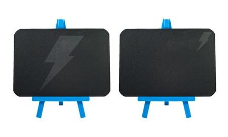 Thunderbolt on blank blackboard background  photo