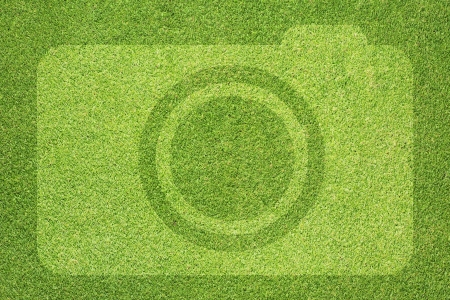Camera icon on grass background Stock Photo - 16656924
