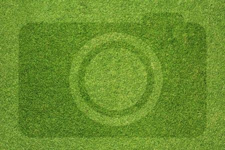 Camera icon on grass background Stock Photo - 16656927