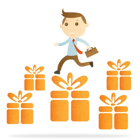 Businessman with gift box on white background Stock Photo - 16766360