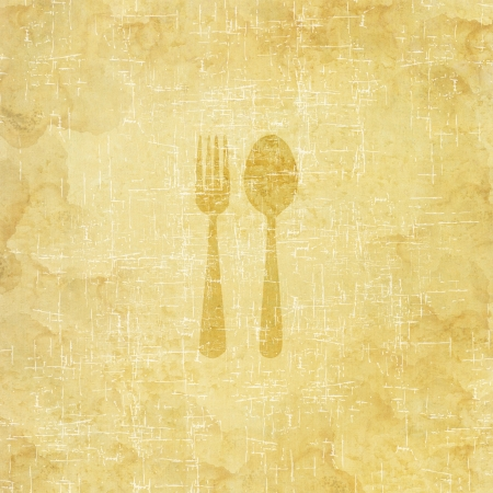 Spoon icon on old paper background Standard-Bild