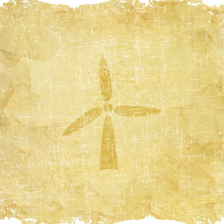 Wind turbine icon on old paper background photo