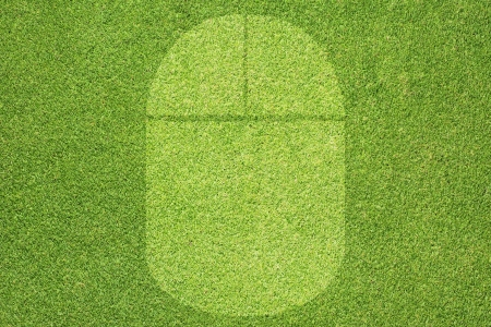 Mouse icon on green grass background  photo