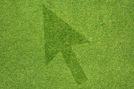 Arrow  icon on green grass background photo