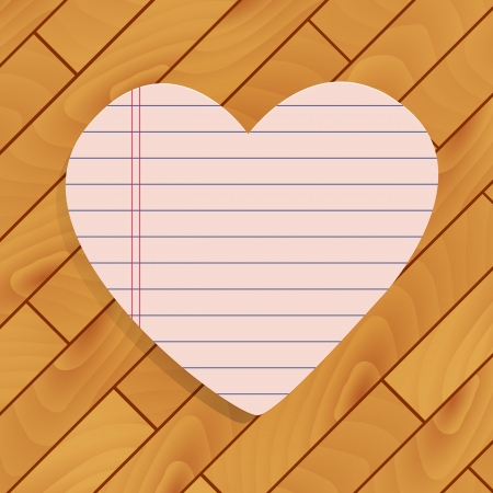 Heart of paper on wood background Stock Vector - 17249419