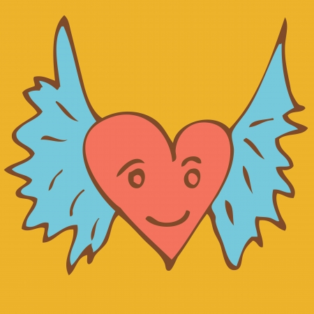 Drawing wing of heart Vector