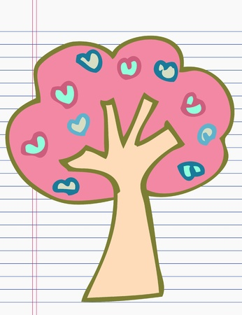 Drawing tree of heart Vector