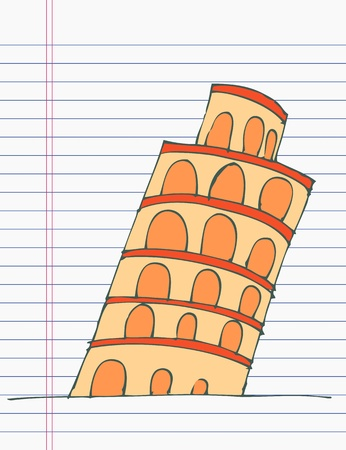 Drawing Tower of Pisa Vector