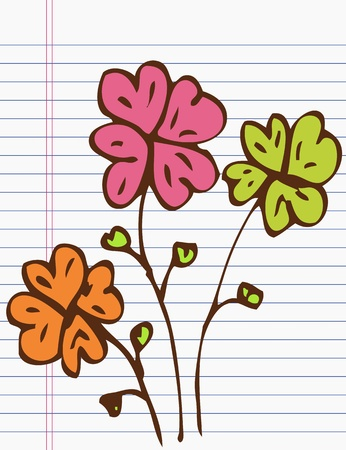 Drawing flower on paper Vector
