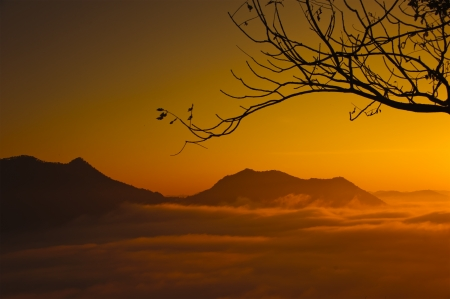 Sunset with mountain, chiangkhan of thailand photo