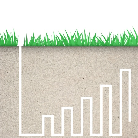 Green grass with graph icon in soil  photo