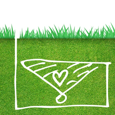 Green grass with heart icon photo