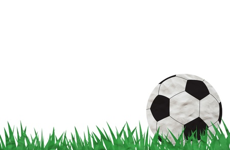 Plasticine Football on grass background photo