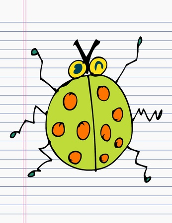 Drawing ladybug on paper Vector