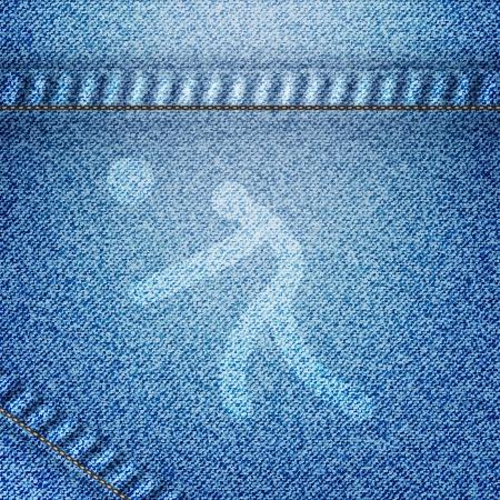 ballon volley: Ic�ne de ballon sport volley sur fond jean
