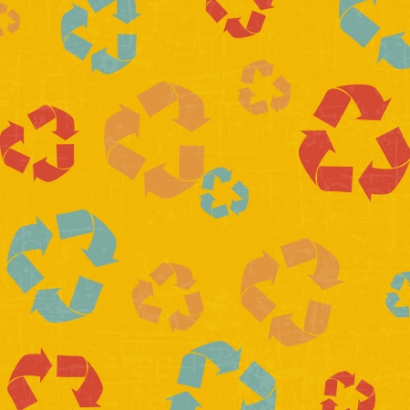 Drawing recycle retro background Vector