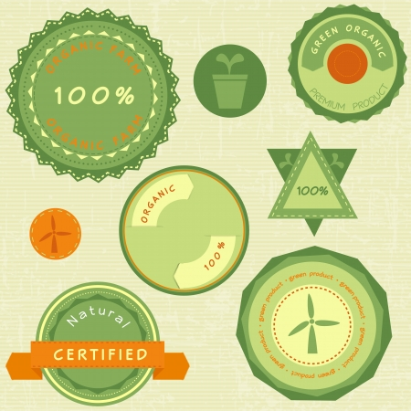 Collection of retro green organic labels Vector