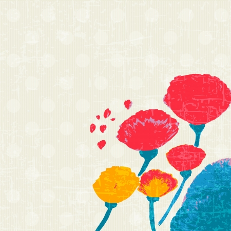 Flowers retro in watercolor hand painted Vector