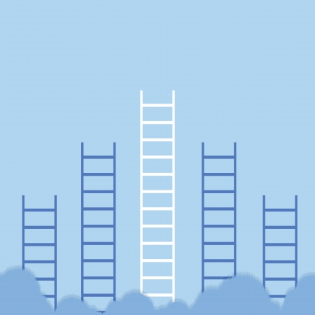 Concept business clouds with ladders Illustration