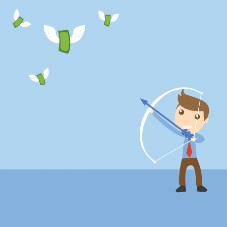 Businessman target with money Vector