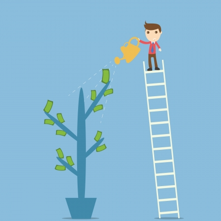 Businessman idea watering money
