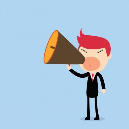 Businessman speaking into megaphone Stock Vector - 20195599