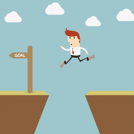 determination: Businessman jumping