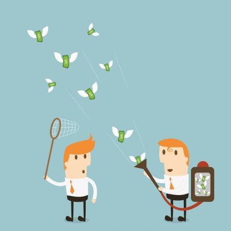 Businessman attracts money