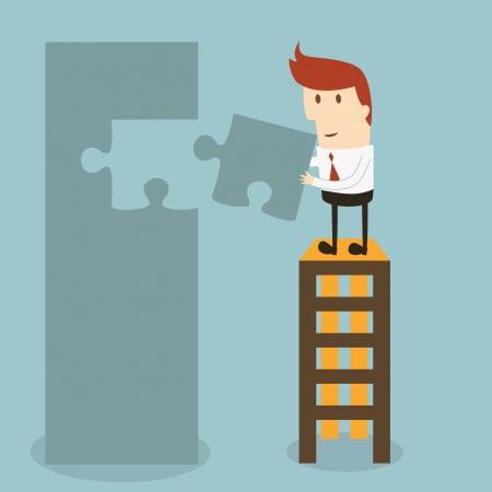 aloft: Businessman success graph Illustration