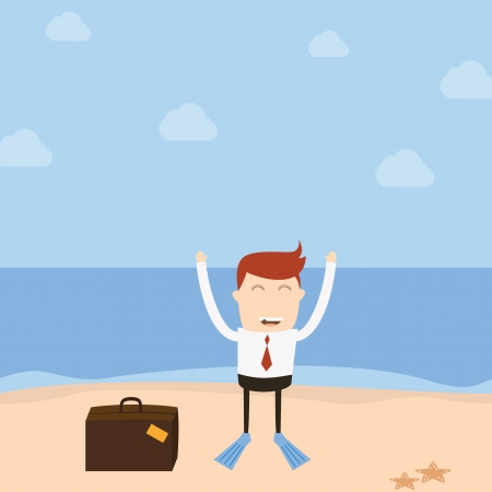 Businessman beach Vector