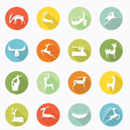 Deer icon long shadow design Vector