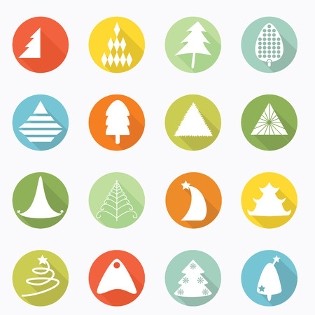 Christmas tree icon long shadow design Vector