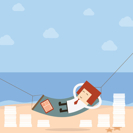 Businessman relax of work on the beach Vector