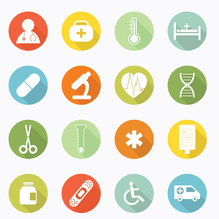 Medical icons web long shadow design