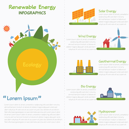 energ�as renovables: Infograf�a de energ�a renovable, vector eps10