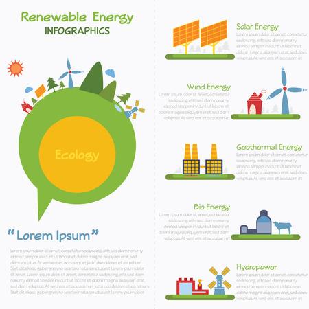 renewable: Renewable energy infographics, vector eps10 Illustration
