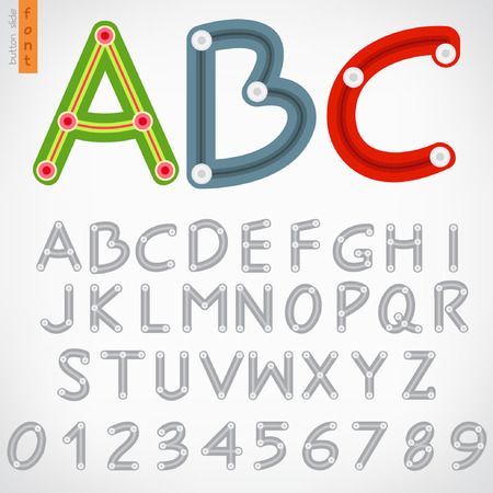 Alphabet set of button slide Vector