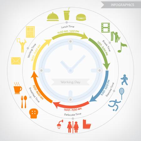 jornada de trabajo: Infograf�a d�as de trabajo Vectores