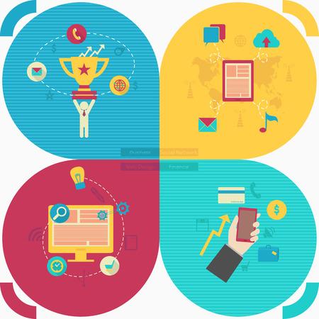 Set of flat icon design for web, business, social networks, finance, web design.  Stock Vector - 29114088