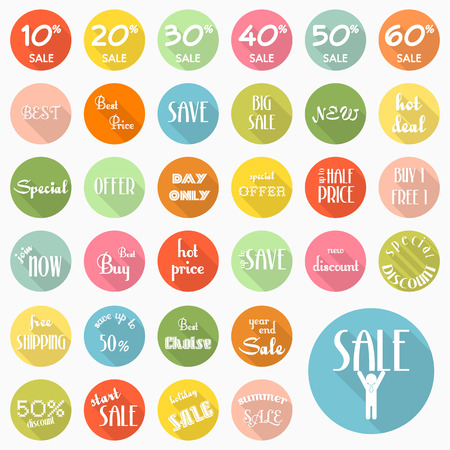 Set of sale labels icons design with long shadow Vector
