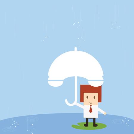 mobbing: Businessman with rain Illustration