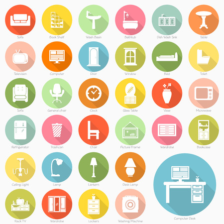 Set of furniture flat icons design Vector