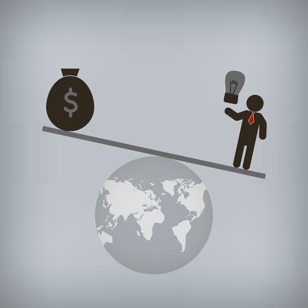 Businessman world control with idea,  Vector illustration for concept, presentation. Vector