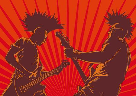 punk: joueurs de guitare punk en style r�tro. arri�re-plan de vecteur